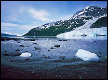 Barry arm and Glacier from Black Sand Beach. Prince William Sound, Alaska, USA