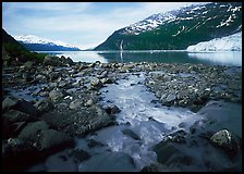Stream, fjord, glacier, and waterfall, Barry Arm. Prince William Sound, Alaska, USA (color)