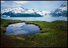 Pond, mountains, and glaciers across Harriman Fjord. Prince William Sound, Alaska, USA ( color)