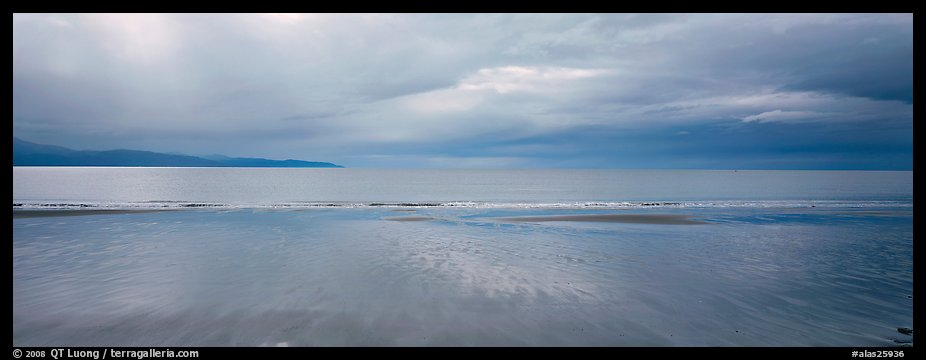 Seascape with wet beach and clouds. Homer, Alaska, USA (color)