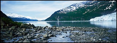 Fjord seascape with tidewater glacier. Prince William Sound, Alaska, USA (Panoramic color)