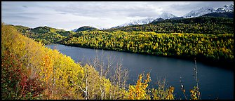 Autumn landscape with forest, lake, and mountains. Alaska, USA (Panoramic color)
