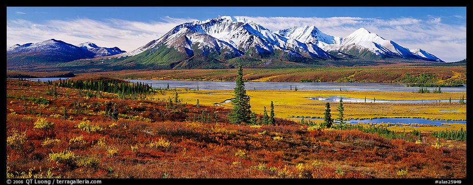 Tundra autumn scenery with snowy peaks. Alaska, USA (color)