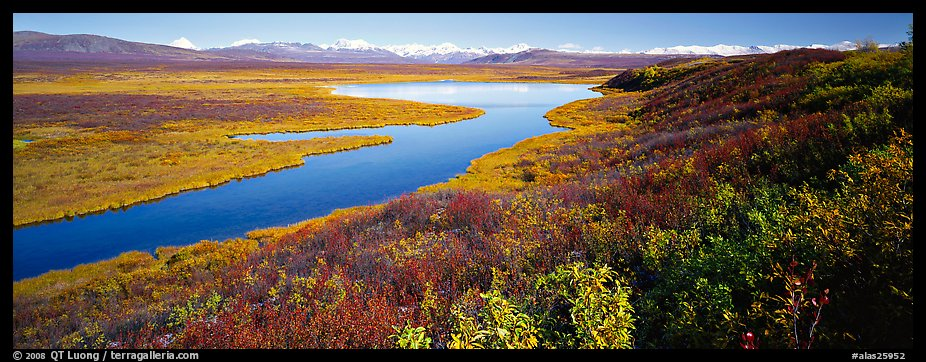 Tundra, lake, and mountains in autumn. Alaska, USA (color)