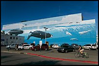 Parking lot with whale mural in background. Anchorage, Alaska, USA (color)