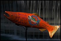 Salmon sculpture. Anchorage, Alaska, USA (color)