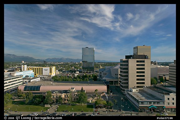 Downtown Anchorage from above. Anchorage, Alaska, USA (color)