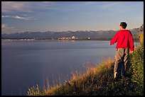 Man walking on the edge of Knik Arm in Earthquake Park, sunset. Anchorage, Alaska, USA ( color)