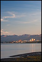 Anchorage skyline at sunset. Anchorage, Alaska, USA