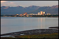 Knik Arm and city skyline. Anchorage, Alaska, USA (color)