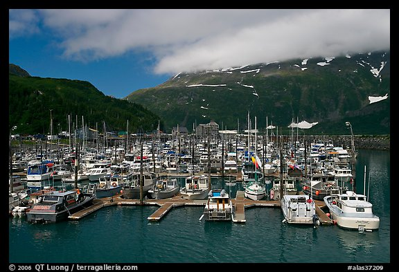 Whittier Harbour and mountains. Whittier, Alaska, USA (color)