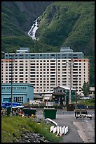 Boat ramp, Begich towers and Horsetail falls. Whittier, Alaska, USA (color)