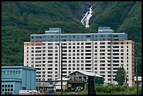 Begich towers and Horsetail falls. Whittier, Alaska, USA (color)