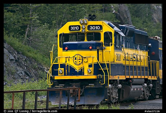 Alaska train locomotive. Whittier, Alaska, USA (color)