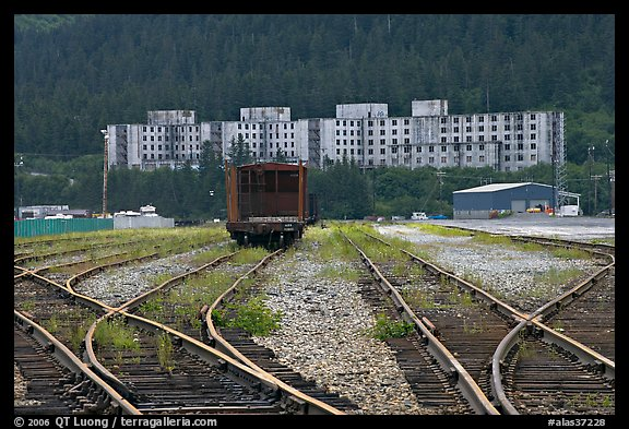 Rail tracks and Buckner building. Whittier, Alaska, USA