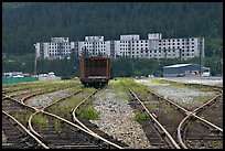 Rail tracks and Buckner building. Whittier, Alaska, USA (color)