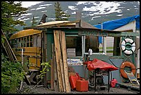 School bus reconverted for housing. Whittier, Alaska, USA (color)