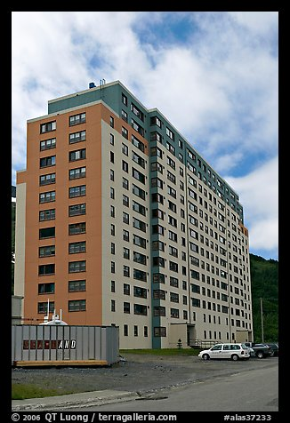 Begich towers, home to half of Whittier population. Whittier, Alaska, USA (color)