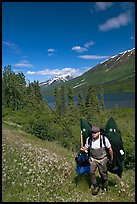 Fisherman hiking out from lake with full gear. Alaska, USA