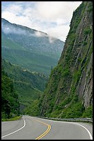 Richardson Highway passing between steep walls, Keystone Canyon. Alaska, USA ( color)