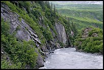 River, vegetation covered rock walls, Keystone Canyon. Alaska, USA ( color)