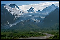 Richardson and Worthington Glacier, afternoon. Alaska, USA (color)