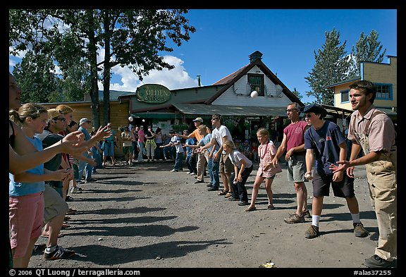 Egg throwing contest. McCarthy, Alaska, USA (color)