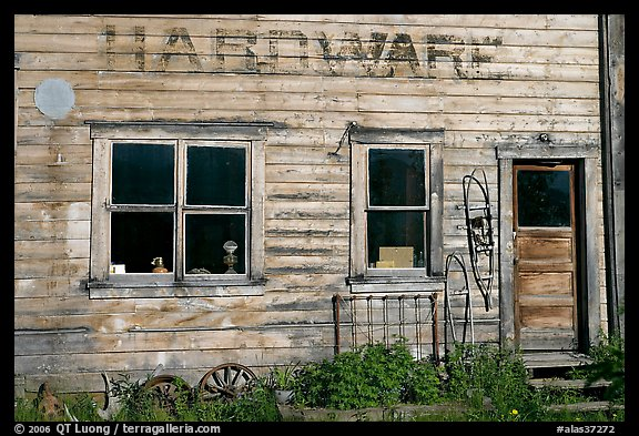 Windows and doors of old hardware store. McCarthy Alaska USA & Picture/Photo: Windows and doors of old hardware store. McCarthy ...