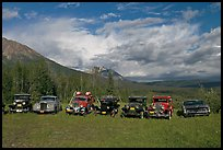 Row of classic cars lined up in meadow. McCarthy, Alaska, USA ( color)