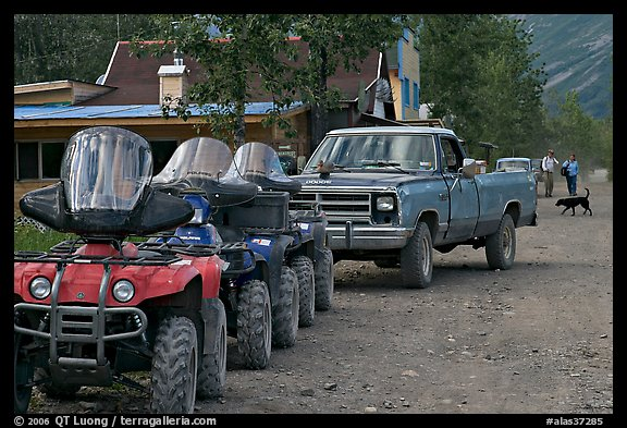 Four wheelers parked on main street. McCarthy, Alaska, USA
