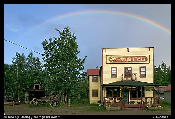 Rainbow over the historic Ma Johnson hotel building. McCarthy, Alaska, USA