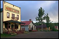 Ma Johnson  hotel at sunset. McCarthy, Alaska, USA (color)