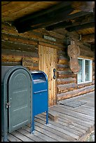 postal boxes, log house postal office, Slana. Alaska, USA