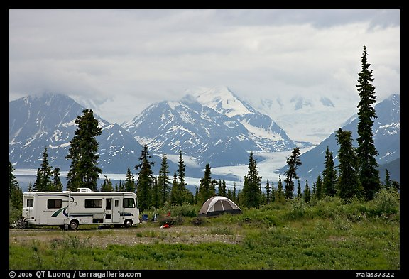 RV, tent, with glacier and mountains in background. Alaska, USA