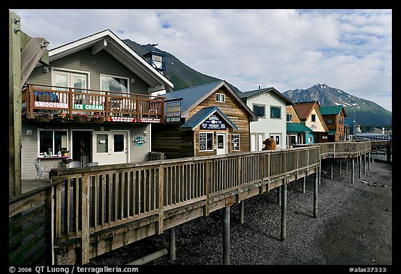 Waterfront houses on harbor. Seward, Alaska, USA (color)