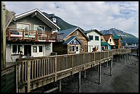 Waterfront houses on harbor. Seward, Alaska, USA
