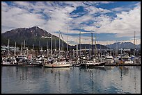 Yachts in harbor. Seward, Alaska, USA (color)