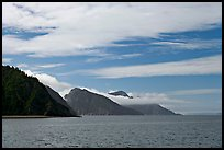 Mountains with low clouds outside Resurrection Bay. Seward, Alaska, USA