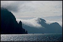 Glistening water, fog, and boats, Resurrection Bay. Seward, Alaska, USA