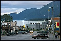 Main street and Resurrection Bay, evening. Seward, Alaska, USA