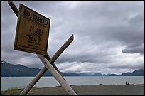 Historic Itadarod sign and Resurrection Bay. Seward, Alaska, USA