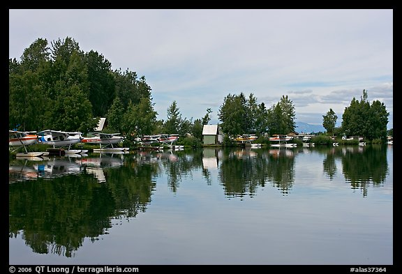 Sea planes and reflections. Anchorage, Alaska, USA (color)