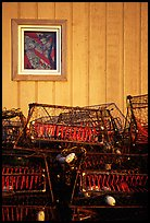 Fishing baskets and wall. Kotzebue, North Western Alaska, USA