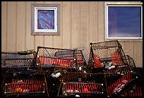Fishing baskets and wall. Kotzebue, North Western Alaska, USA ( color)