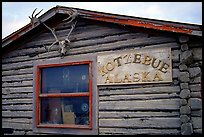 Log cabin with caribou antlers. Kotzebue, North Western Alaska, USA