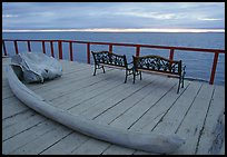 Whale bone and Kotzebue sound, looking towards the Bering sea. Kotzebue, North Western Alaska, USA (color)