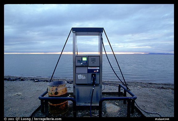 Gas pump on the beach, looking towards the Bering sea. Kotzebue, North Western Alaska, USA