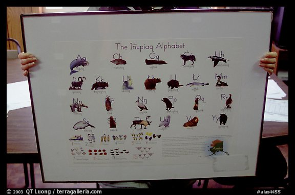 Poster describing the Inupiaq alphabet, Kiana. North Western Alaska, USA (color)