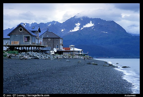 Houses on the beach at Lowell Point. Seward, Alaska, USA