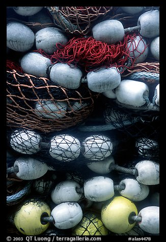 Buoys and fishing nets. Seward, Alaska, USA